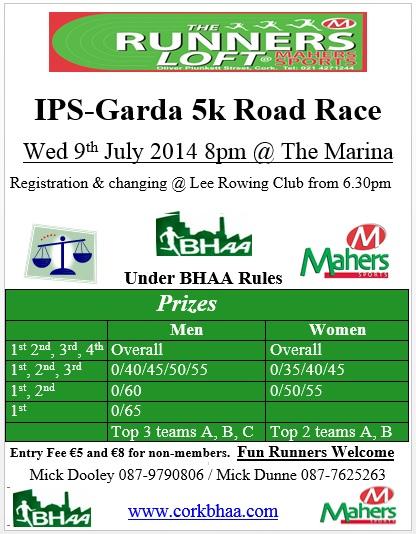 Cork BHAA IPS Garda 5k 2014 flyer