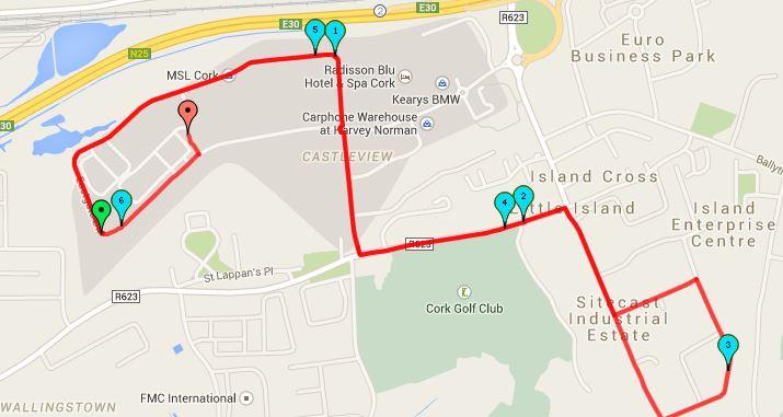 Cork BHAA Mahers Sports 6k Road Race Map