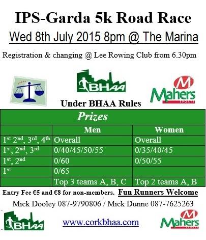 Cork BHAA IPS Garda 5k 2015 flyer
